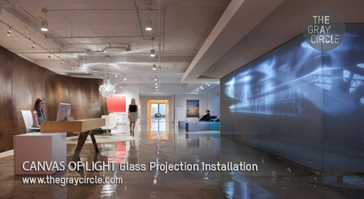 CANVAS OF LIGHT Glass Projection Installation - The Gray Circle 1